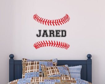 Boys Name Baseball Stitches Wall Decal   Personalized Name   Sports Theme  Decor   Monogrammed Vinyl Lettering   Teen Room   Baseball Decor