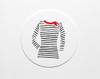Letterpress French Striped Shirt Coaster