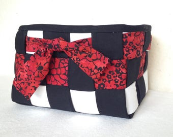 Woven Fabric Basket Red, Black, White
