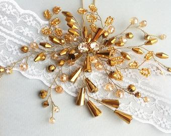 Bridal hair pins, Gold hair pin, Wedding hair jewelry, Wedding hair piece, Wedding hair comb, Wedding hairpin, Weddings hair accessories