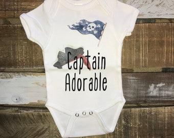 Captain Adorable bodysuit/ pirate onesie/skulls