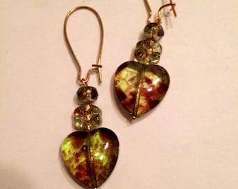 Wildflower Leopard Heart Earrings