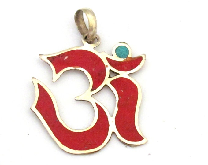 Sanskrit Om pendant  with coral and turquoise inlay - PM287C