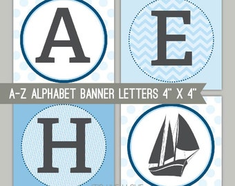 Blue Nautical Banner Letters - A-Z - Printable PDF