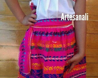 Mexican Embroidered blouse and Boho Skirt outfits Size 6 years old girls
