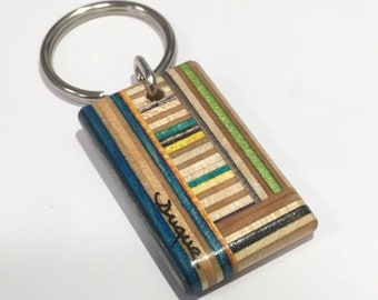 Upcycled Skateboard Key chain by Duque Skate Art RI Handmade Recycled Wood