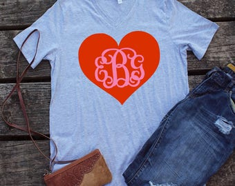 Personalized Heart Bella Canvas Vneck - women vneck t shirt - comfy fall shirt - bella canvas - valentines outfit - Valentines shirt