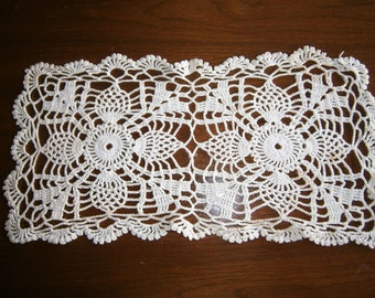 Hand Crocheted Doily, White Cotton Doily,  Rectangle Doily, Placemat, Pineapple Design, Craft Supply, 1950's