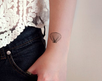 Set of 3 small shell temporary tattoos / shell tattoo / small temporary tattoo / beach temporary tattoo / beach tattoo / beach gift idea