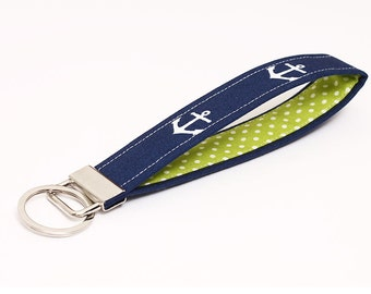 Nautical key fob, fabric keychain wristlet, navy blue keyring, OOAK key lanyard - white anchors in navy blue with green and white polka dots