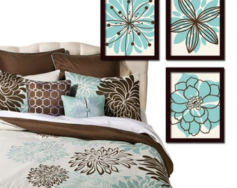 Aqua Brown Wall Art, Bedroom Canvas or Prints, Bathroom Decor, Bedroom Wall Decor, Flower Wall Art, Wall Decor, Flower Burst Dahlia Set of 3