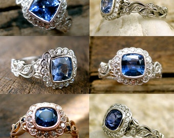 Order Your Blue Sapphire Vine Engagement Ring with Diamonds Here - For Deposit Only