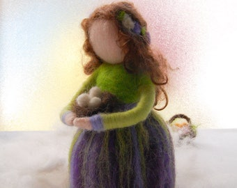 Felted Springtime Doll, Waldorf Inspired Doll, Springtime Doll, Nature Table Decor, Spring Waldorf Fairy, Springtime Fairy, Springtime Decor