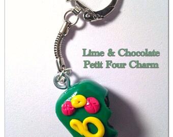 Polymer Clay Chocolate & Lime Petit Four Key Chain - Chocolate Jewelry - Miniature Cakes - Tiny Foods - Tiny Dessert - Clay Key Chain
