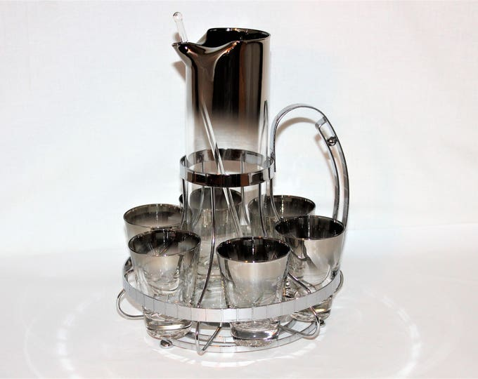 Vintage 1960s Vitreon Queen's Lusterware, ltd. Silver Fade or Ombre Glass Barware Set with Caddy