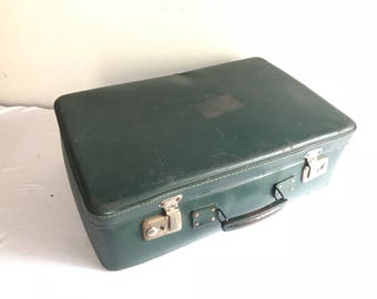 Old green travel trunk suitcase + #2 Vintage decorative Metal handle