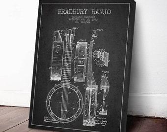 1882 Bradbury Banjo Patent, Banjo Print, Banjo Canvas Print, Banjo Poster, Wall Art, Home Decor, Gift Idea, MUIN05C