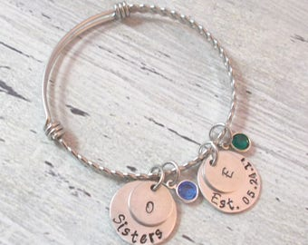 Personalized Sisters Bracelet, Sisters Jewelry, Sisters, Name Bracelet, Sisters Bracelet, Name Jewelry, Birthstone Jewelry, Sisters Gift