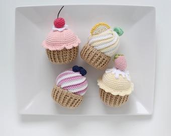 Pretend food crochet cupcake, playroom decor, crochet food, crochet cake for child play, amigurumi cupcake, handmade cupcake, amigurumi food