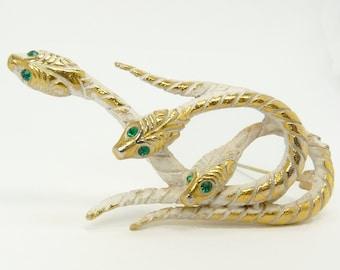Vintage Rhinestone Triple Snake Brooch