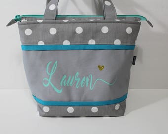 Large Lunch Bag Adult Lunch Bag Insulated Womens Lunch Bag  Zipper Top Inside. Pockets Grey Polka Dot Choose Your Color