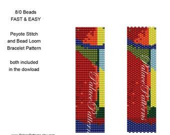 Peyote Stitch and Bead Loom Beadweaving Bracelet Pattern - 8/0 Seed Bead Pattern - 8Bead19