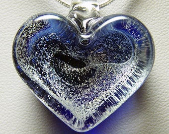 Chunky heart in solid glass blue and gold pendant -  lampwork glass with gold dichroic