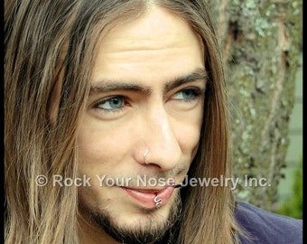 Mens Silver Nose Ring/ Guys Sterling Nose Ring / Mens Nose Jewelry/24G Nose Ring/ 22G Nose Ring/20G Nose Ring/18G Nose Ring CUSTOMIZE