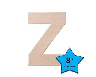 Paper Mache Cardboard Letters 8 Inch - Letter Z - Paper Craft Party Decor Supplies