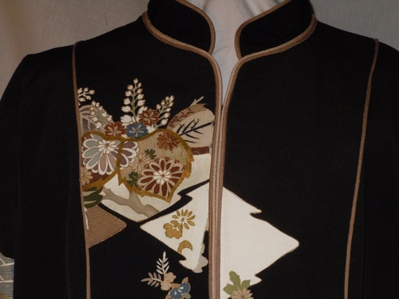 gold One F20 size kimono of dyed motifs large jacket and vintage hand embroidery silk from Black a with Kind S6YqB64x
