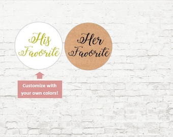 His Favorite Her Personalized Stickers, Custom Wedding Stickers, Baby Shower, Wedding Favor Stickers, Envelope Seals, Invites
