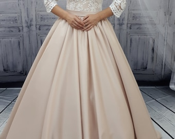 Lace wedding dress, Bohemian wedding dress, Boho wedding dress,unique wedding dress, open back bridal gown, open back wedding dress