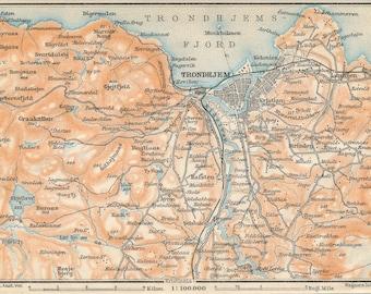 Trondheim Map Art Print SrTrndelag Norway Poster