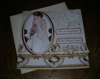 Love and happiness to the Happy Couple - Greetings card - Hand made