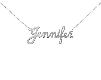 SNP17 Silver Plain Finished Name Necklace