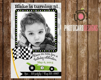 Race Car Invitation, Race Car Birthday Invitation, Car Invitation, Photo Invitation, Card, Car Party, Race Car, Car, Car Birthday, Digital
