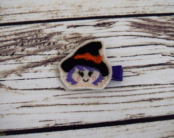 Handcrafted Purple Hair Witch Hat Feltie Clip - Small Hair Clip - Halloween Hair Bow - Baby Girl Bows - Witch Halloween Costume - Toddler