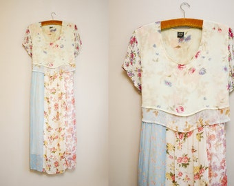 Vintage 90s Floral Patchwork Maxi Dress / Layered Sheer Dreamy Shortleeve Dress / Free Fitting