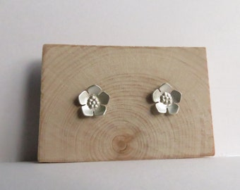 Sterling Silver Cherry Blossom Floral Stud Earrings. Cherry Blossom Floral Stud Earrings. Small Floral Studs.