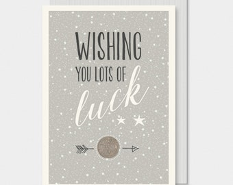 East Of India Wish You Lots Of Luck Card - Wedding Bride Gift / New Job Lucky Sixpence