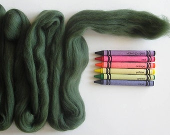 MERINO WOOL ROVING / Natural Green 1 ounce / needle felting / wet felting / spinning / dark green merino wool top / wool basket filler