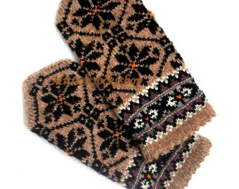 Hand Knitted Mittens Beige Black Wool Mittens Hand Knit Beige Black Wool Gloves Beige Women's Mittens Winter Gloves Patterned Latvian mitts