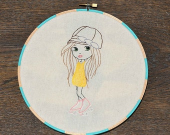 Let the Good Times Roll - Girl in Roller Skates, Hand Embroidery PDF Pattern