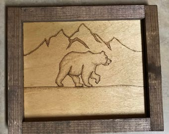 SALE!!!! 26% OFF!!!! Wooden Rolling Tray - Bear & Mountains