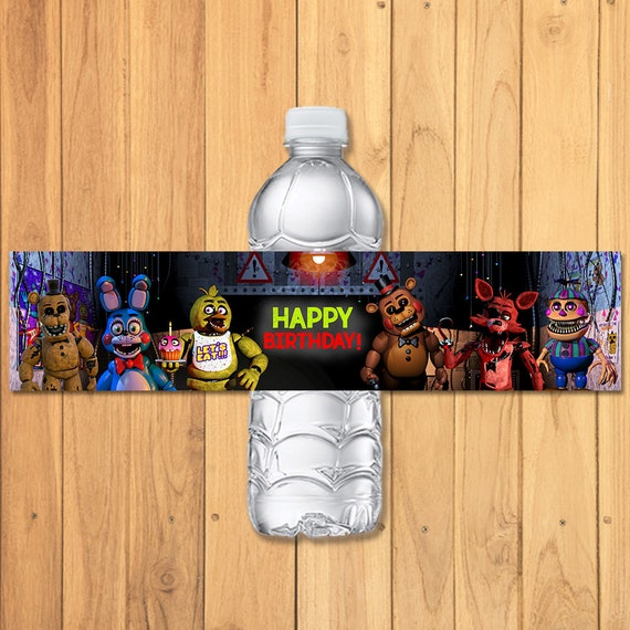 Five Nights at Freddy's Drink Labels Chalkboard - FNAF Birthday Party - 5 Nights Freddys Wtaer Bottle Label - 5 Nights Freddy's Video Game