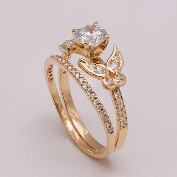 Butterfly Bridal Set Gold and Diamond engagement ring