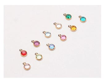 60 Pcs  4mm Stone (New Smaller) Bezel Set Swarovski Birthstones Crystal Charms,  Gold Plated, 5 of each month, - CC4G-SET60
