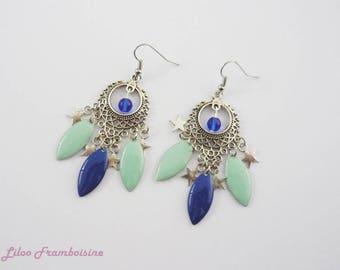 Duo blue and mint chandelier earrings