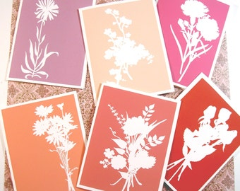 Valentine floral silhouette cards in pinks and reds