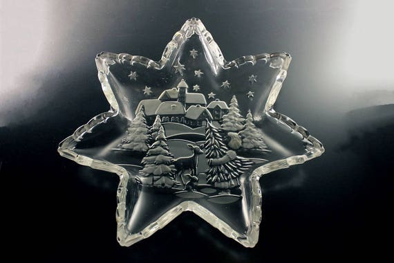 Star Serving Platter, Mikasa, Holiday Classics, Star Shaped, Frosted Glass, Clear Glass, New In Box